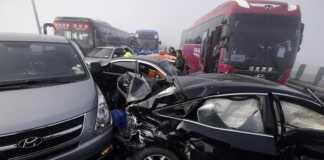 В Южной Корее на мосту столкнулись 100 машин