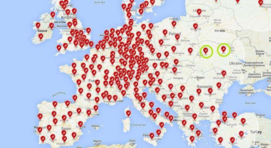 Карта станций Tesla в Европе