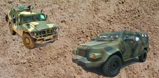 Бронеавтомобили: российский Тигр (слева) и украинский Барс-8