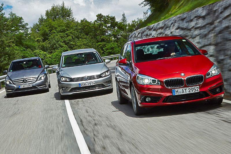 Mercedes B 200 CDI, Volkswagen Golf Sportsvan, BMW 2 Active Tourer