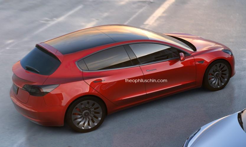 Как мог бы выглядеть хэтчбек на базе Tesla Model 3